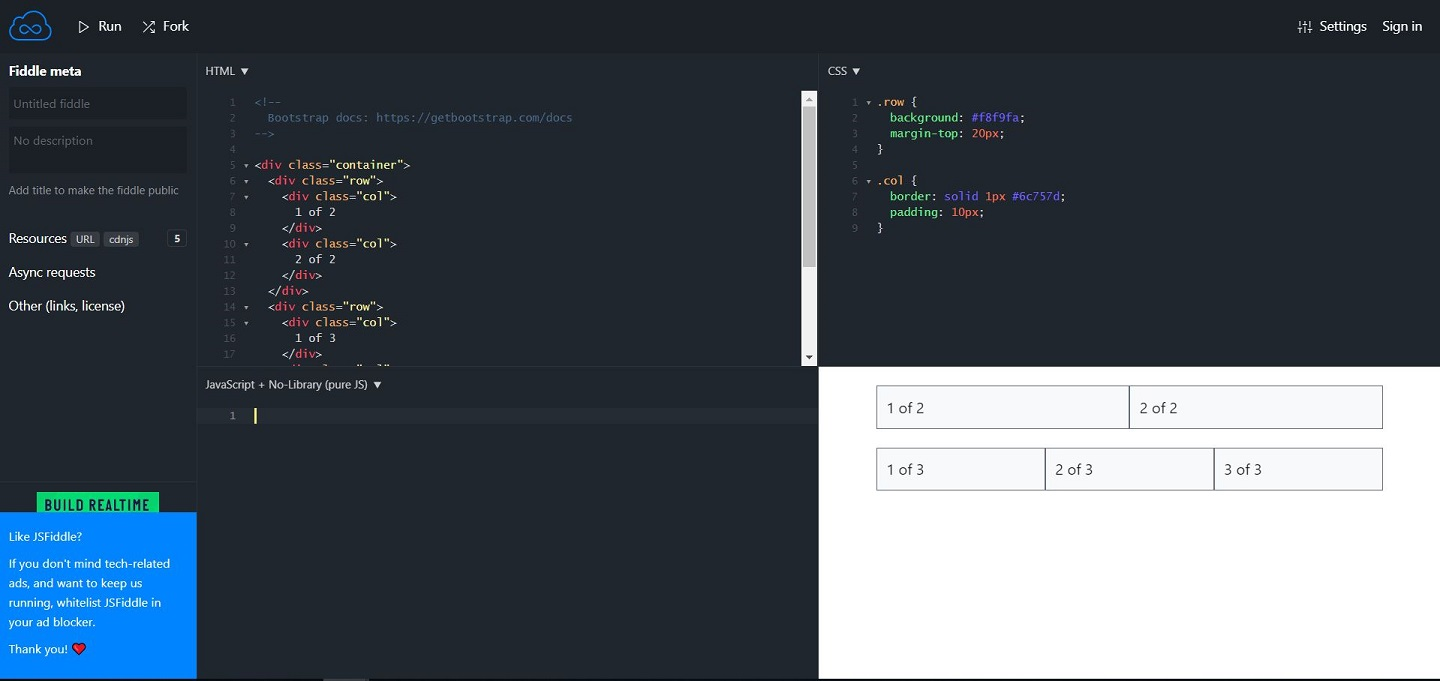 jsfiddle bootstrap